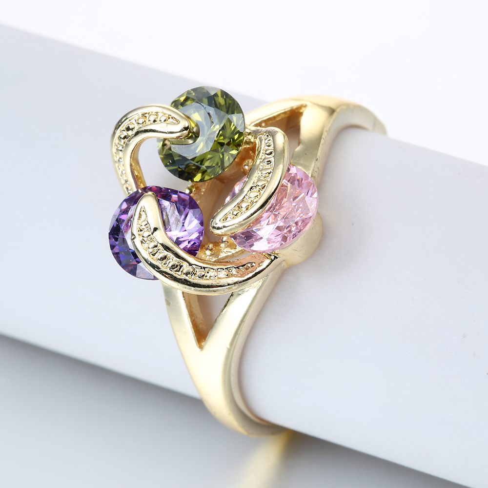 Gold Color promise rings flower design 3 green pink purple promise Jewelry Vintage Wedding Rings For Women Birthday Stone Gifts