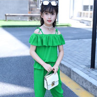 Girls Summer Fashion Set 2018 New Children Clothes Chiffon 2 Piece Girls Clothing Green Yellow Summer Clothing Fit 4 10T