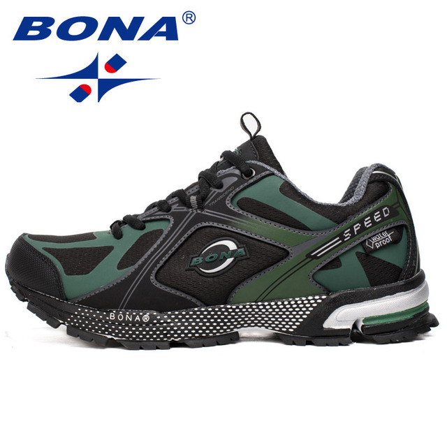 BONA New Waterproof Style Men Running Shoes Ourdoor Walking Sneakers Lace Up Athletic Shoes Comfortable Light Fast Free Shipping 1
