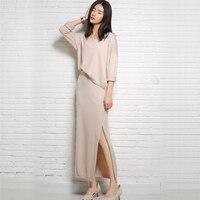 15 Moda Outono E Inverno Coreano Mulheres Camisola de Malha Vestido de Fenda Saia Terno Dois-Peça Suéter de Cashmere Autêntica Livre grátis