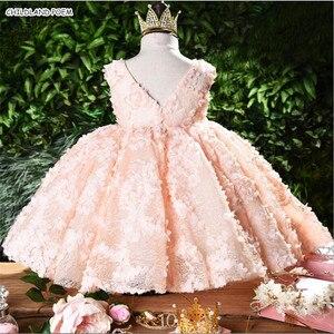 Платье для маленьких девочек на первый день рождения, свадебное платье, платье принцессы с 3D цветами, кружевные Детские платья для девочек-п...
