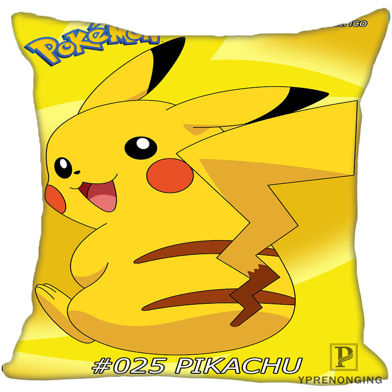 Custom Decorative Pillowcase Pokemon Pikachu Square Zippered Pillow Cover 35X35,40x40,45x45cm(One Side)180527-21-13