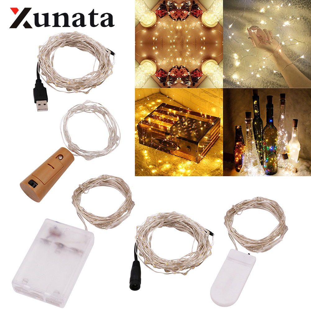USB 3XAA Battery LED String Battery Silver Copper Wire Holiday Party Christmas Fairy Lights Xmas Light For Wedding Decoration