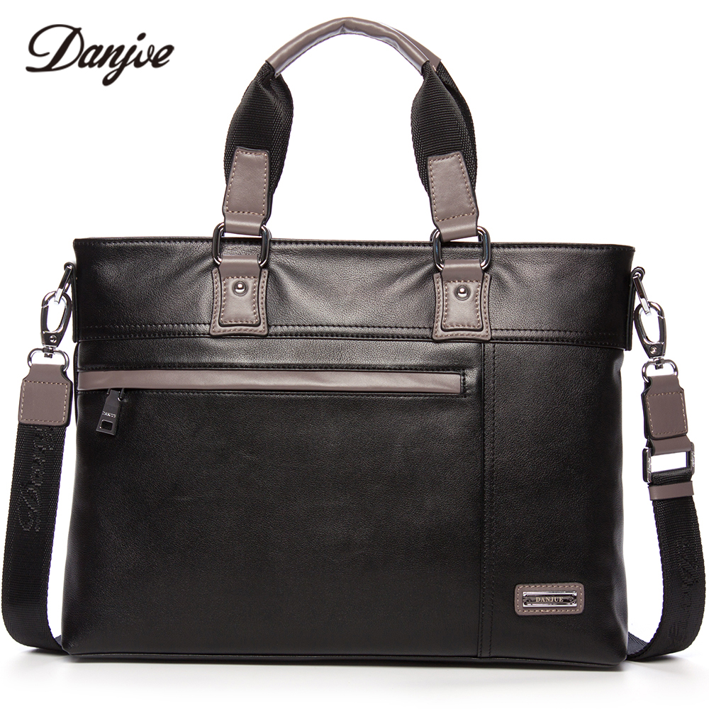 DANJUE Men Bag Genuine Leather Business Bag Vintage Handbag Men Real Leather Male Briefcase Fashion Men's Laptop Bag 14 danjue genuine leather men travel shoulder bag double zipper designer crossbody bag business fashion real leather briefcase bag