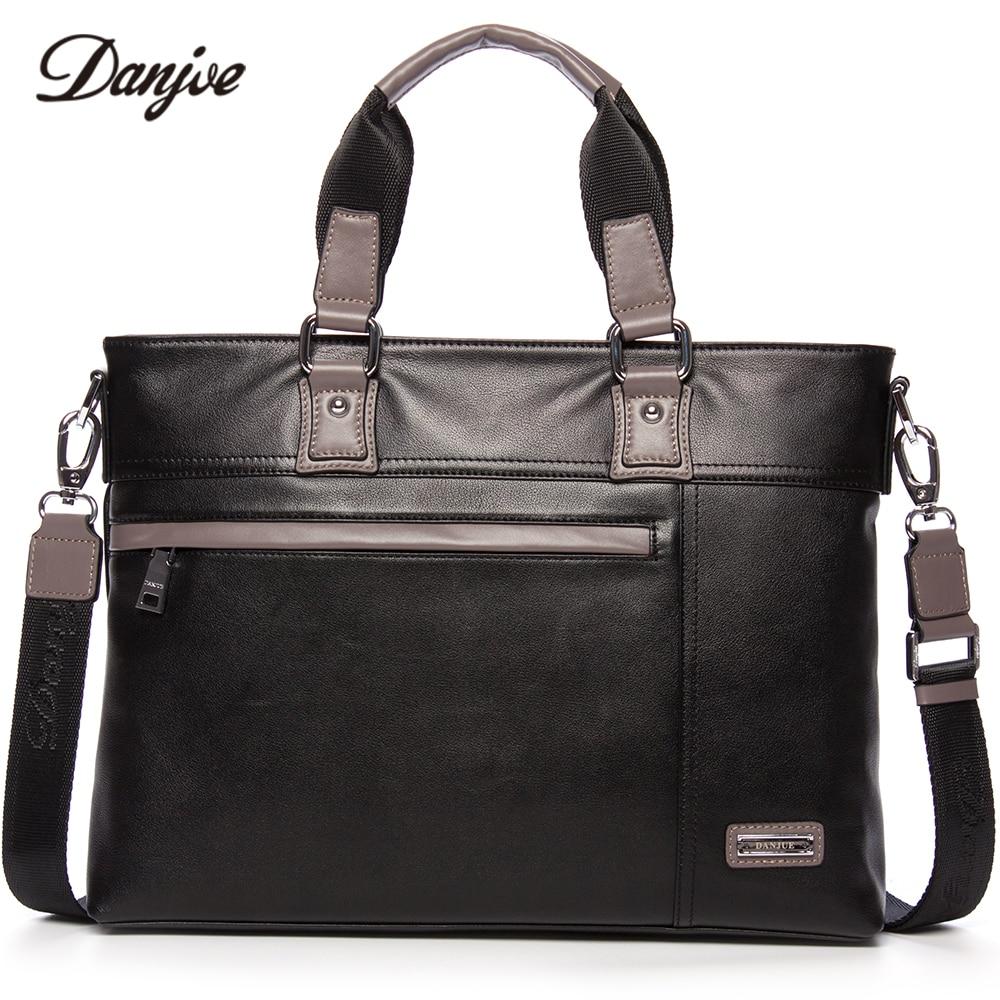 DANJUE Men Bag Genuine Leather Business Bag Vintage Handbag Men Real Leather Male Briefcase Fashion Men's Laptop Bag 14