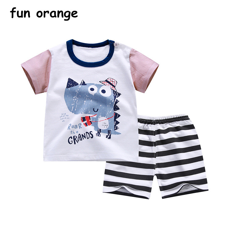 Fun Orange Cartoon Baby Boy Clothing Set Summer Infant Clothes Baby Girls Clothing Cotton Short Sleeve Baby Boy Clothes
