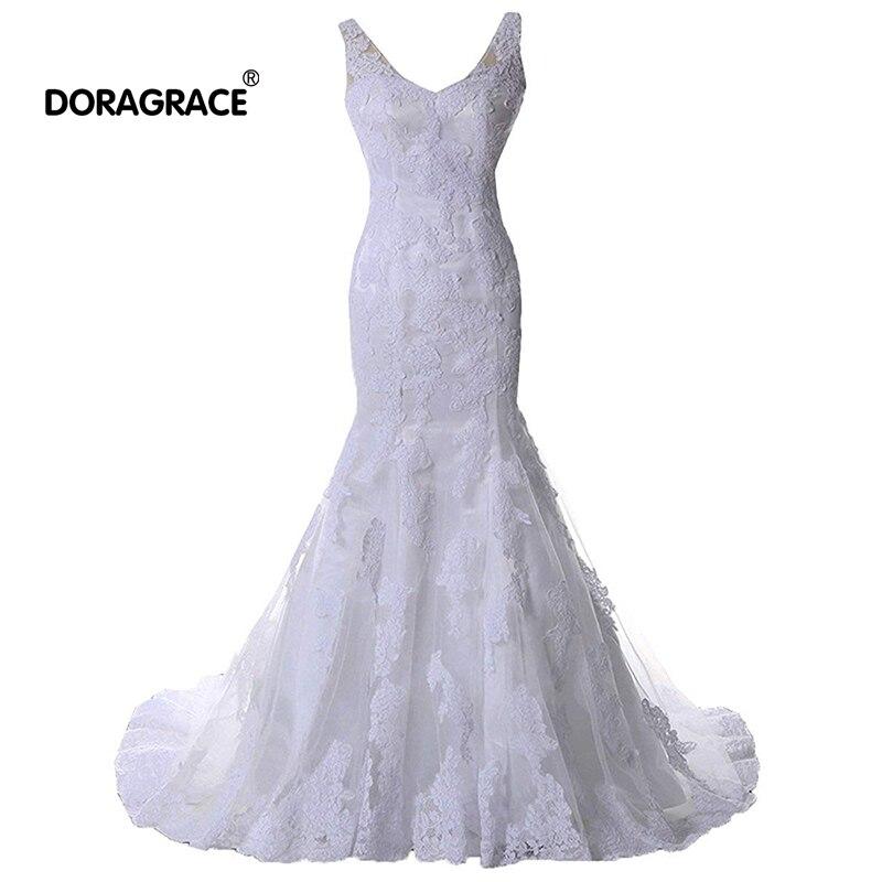 Doragrace Real Photo vestidos de noiva V Neck Backless Mermaid Lace Wedding Dresses Bridal Gowns
