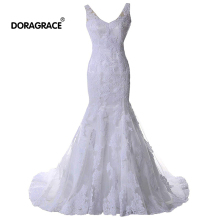 Doragrace Real Photo vestidos de noiva V Neck Backless Mermaid Lace Wedding Dresses Bridal Gowns