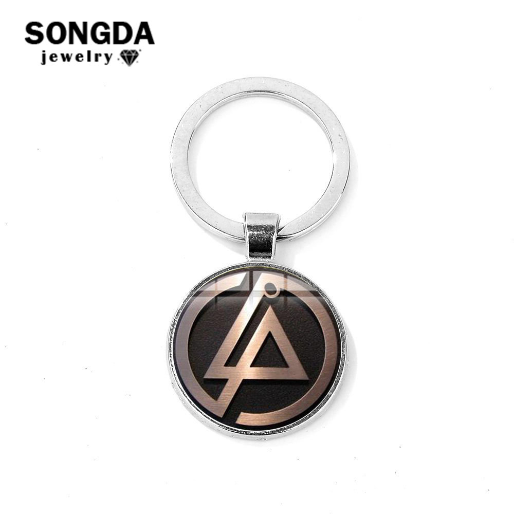 Us 0 75 35 Off Songda Rock Music Linkin Park Band Sign Keychain Art Logo Glass Cabochon Silver Plated Metal Bag Car Key Chain Ring Handcrafteds In