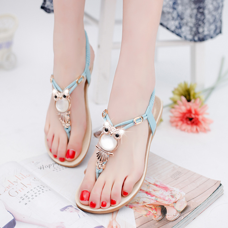 884981c1a78 Women Sandals 2019 Women Flat Sandals Summer Shoes Bowtie Owl Beach Shoes  Women Shoes Comfortable Ladies Sandals Plus Size 43-in Women's Sandals from  Shoes ...