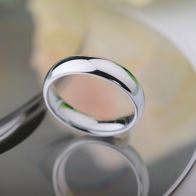Never Fade Shiny Silver White Tungsten Rings Dome Band 3.5mm and 5mm Width for Couples Free Engraving and Free Shipping