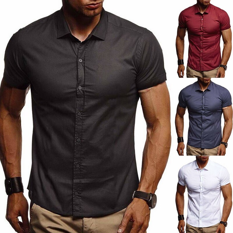 Oeak Men Summer Casual Shirts 2019 Now Button Down Collar Slim Fit Short Sleeve Solid Color Stretch Casual Business Office Shirt