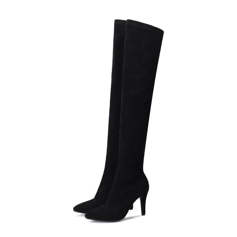 Vente grey Genou D'hiver Smeeroon Cuissardes Chaussures Sexy 2018 Mode Haut Sur Le Automne Noir Bottes Qualité Chaude Talons Femmes Mince 5HHf8q