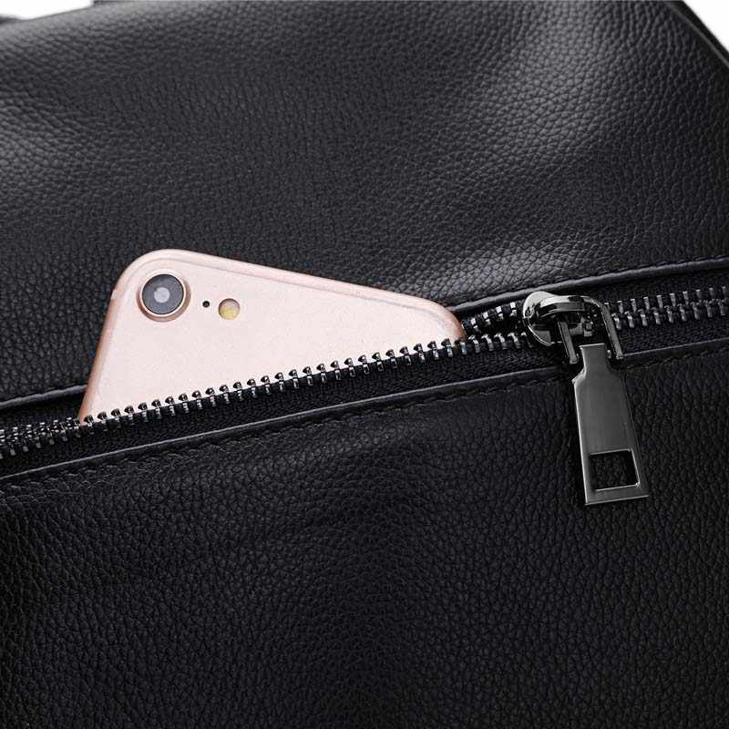 Модный новый черный женский рюкзак 100% из натуральной коровьей кожи для девочек школьный женский рюкзак для ноутбука Повседневная дорожная сумка