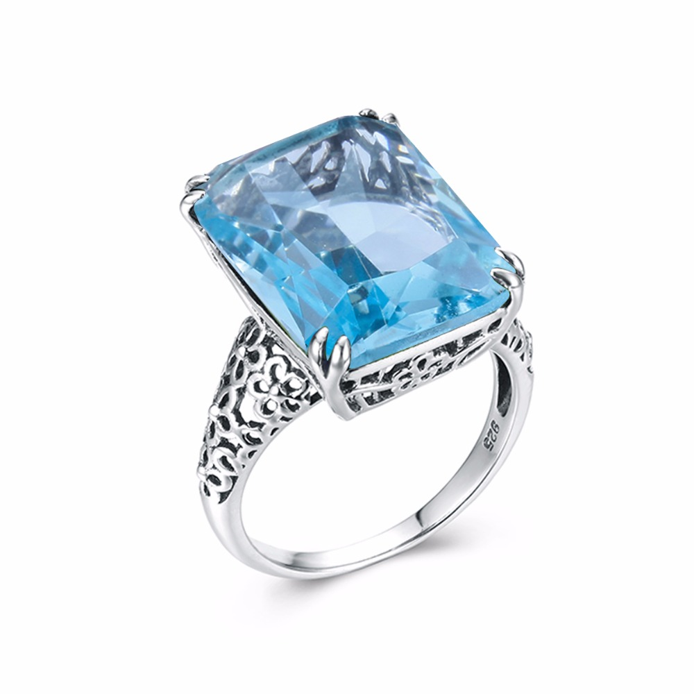 Szjinao Wholesale High quality Jewelry Vintage Solid 925 Sterling Silver Rings for Women Square Blue Big Aquamarine gift