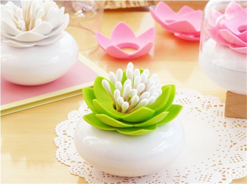 Creative 2pcs Toothpick Holders With Cap Lotus Flower Vase Cotton
