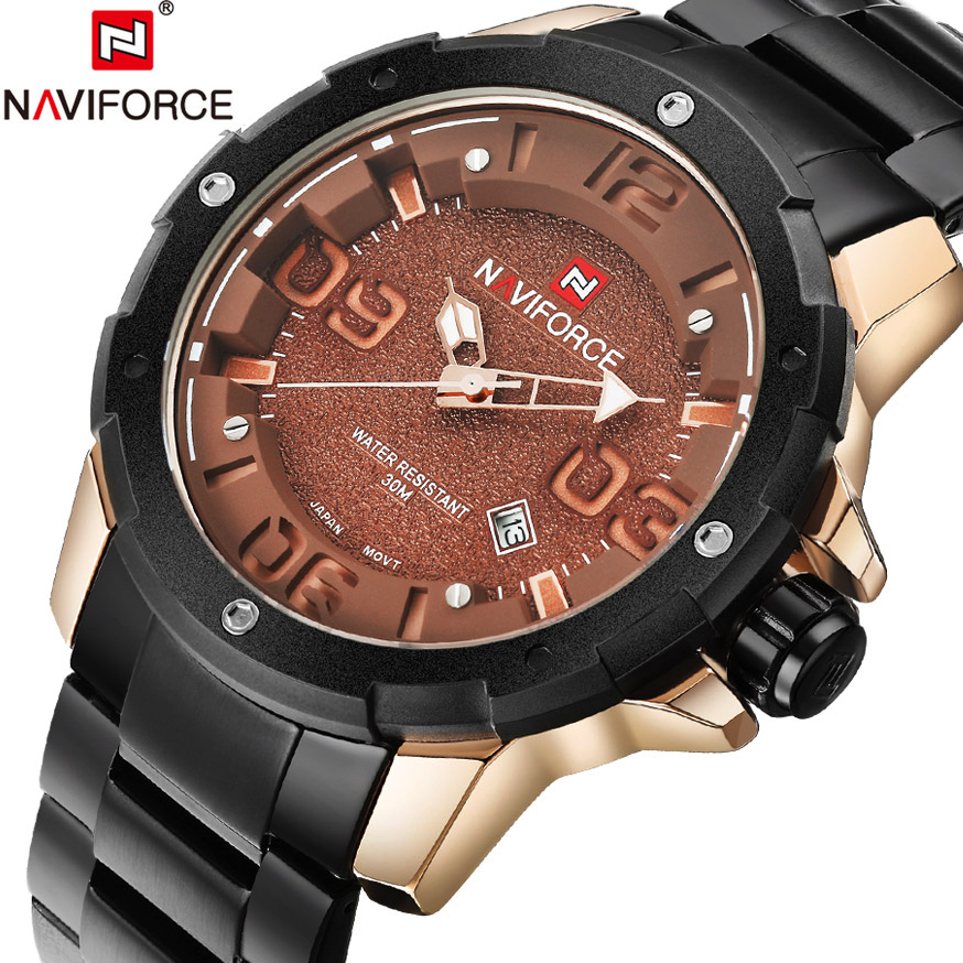NAVIFORCE Luxury Brand Full Steel Watch Men Sports Army Military Watches Men's Quartz Date Watch Man Clock relogio masculino