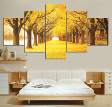 5 Piece Yellow Maple Forest Oil Paintings Canvas Art Wall for Home Decor