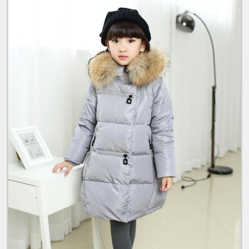 -35 Degree Russian Winter Child Down/Parkas girls Fur Collar jackets Teenage Thicken long Coats Duck Down Jackets Kids Outerwear