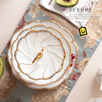 Gold inlay cake desserts plates 2/3 layers dishes plates ceramic tray