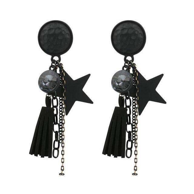 2017 Fashion Vintage Long Black Tels Earrings Drop Dangle Statement For Women With Star Pendants