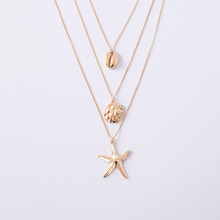 Gold Hammered Metal Sea Snail Conch Seashell Starfish Pendant Necklace Korean Fashion Triple Layers Neck Bridal Party Jewelry