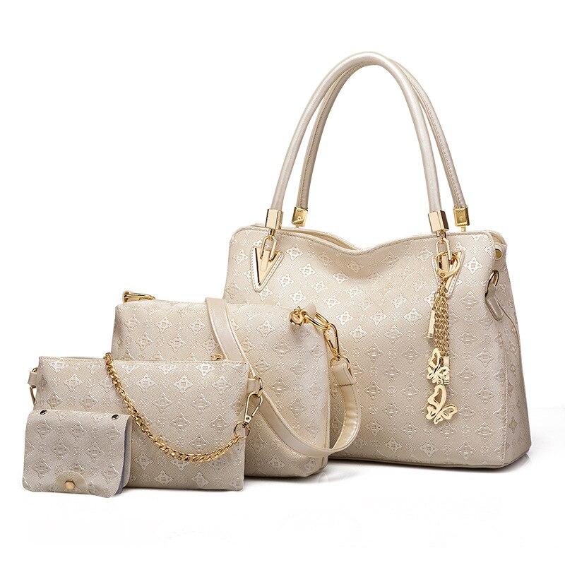 Nouvelle mode sac à bandoulière femmes Top-poignée sacs femme célèbre marque filles Messenger sacs sac à main 4 Set PU cuir Composite sac