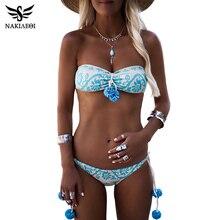 NAKIAEOI 2019 Newest Sexy Bikini Women Swimsuit Push Up Swimwear Female Bandeau Brazilian Bikini Set Printed Beach Bathing Suit