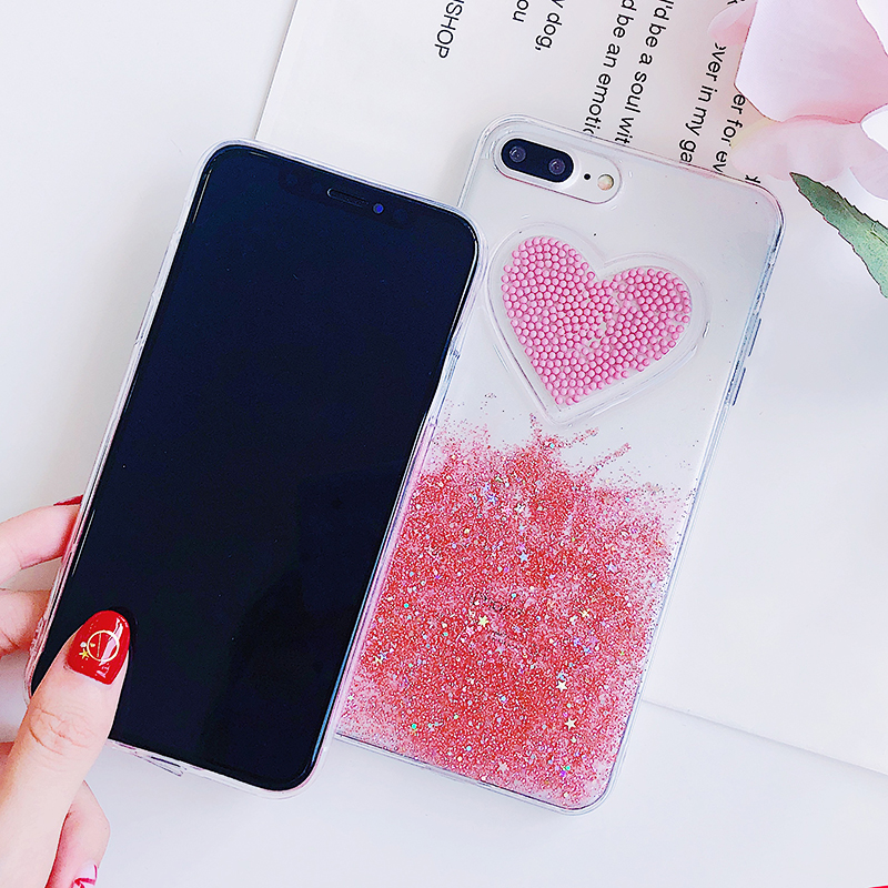 Liquid Glitter Case For iPhone 7 8 6 Plus X Cases Fo iPhone 6S Case Lovely Heart Quicksand Dynamic Clear Cover For iphone 8 Case (6)