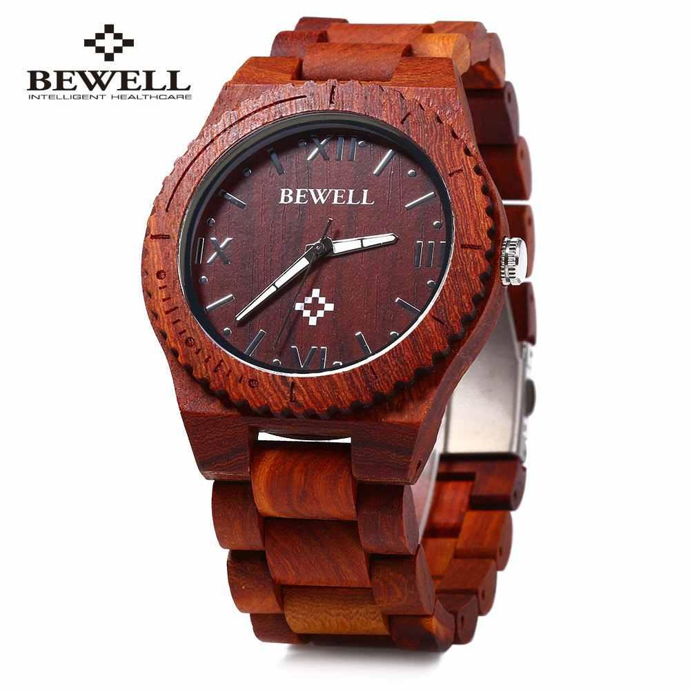 Reloj de cuarzo Bewell ZS-W065A de madera para hombre, reloj de cuarzo, básculas romanas, relojes de madera a prueba de agua, reloj de lujo