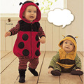 Bees Ladybug Romper Baby Clothes Infants New Born Girls Boys Clothing 2016 New Unisex Toddler Hooded Animal Rompers Cosumes