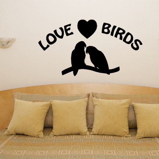 Free Shipping Love Birds Heart Motto Quote Bedroom Living Room Decal Wall Art Sticker Picture 30x56cm