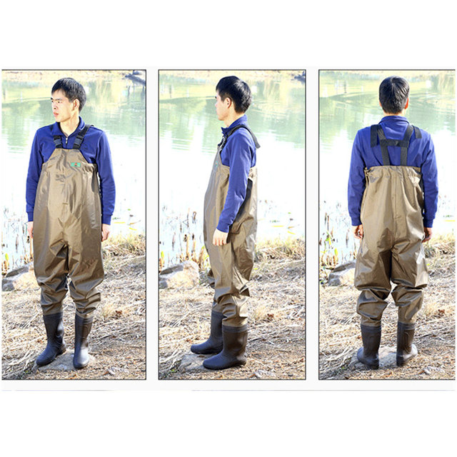 High-Jump 0.4mm Chest Height Fishing Waders PVC+Nylon Breathable Chest Waders for Fishing One-piece Bigger Wider Hunting Waders
