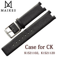 MAIKES New Hot Sales Genuine Calf Leather Watch Band Black Soft Strap Watchband Case For CK