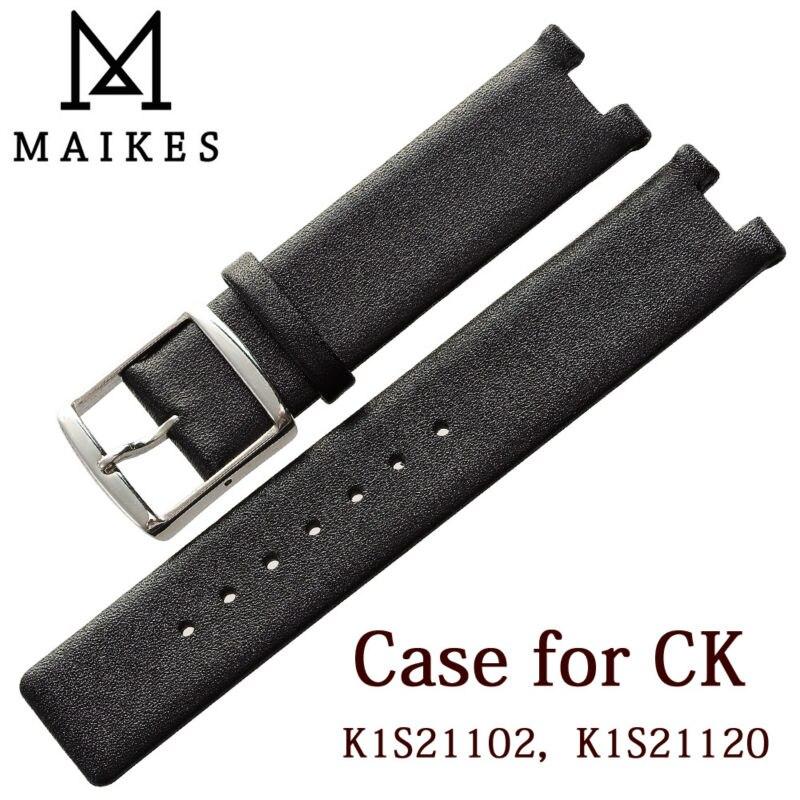 Maikes neue heiße verkäufe echte kalbsleder uhrenarmband schwarz soft strap armband fall für ck calvin klein k1s21102 k1s21120