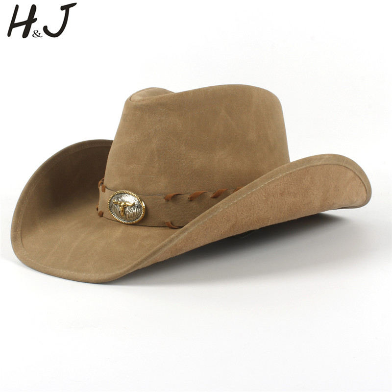100 Leather Men Western Cowboy Hat For Gentleman Dad Sombrero Hombre Caps Size 58 59CM Dropshipping