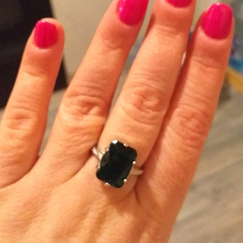 Модное большое кольцо с зеленым камнем для женщин роскошный простой серебристый цвет кубические циркониевые кольца эффектные ювелирные изделия Новинка Z5J644