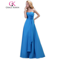 Grace Karin Long Blue Bridesmaid Dresses Strapless  Wedding Party Dress Chiffon A Line Floor Length Special Occasion Dress 2017