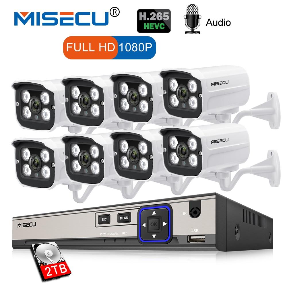 MISECU 8CH 2MP POE NVR 1080 p Della Macchina Fotografica kit Outdoor 1080 p PoE IP Macchina Fotografica di Registrazione Audio Onvif FTP CCTV sistema di Video Sorveglianza Kit