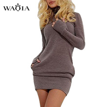 Women Long Sleeve Thumb Out Dress With Pockets Winter Clothes Dress