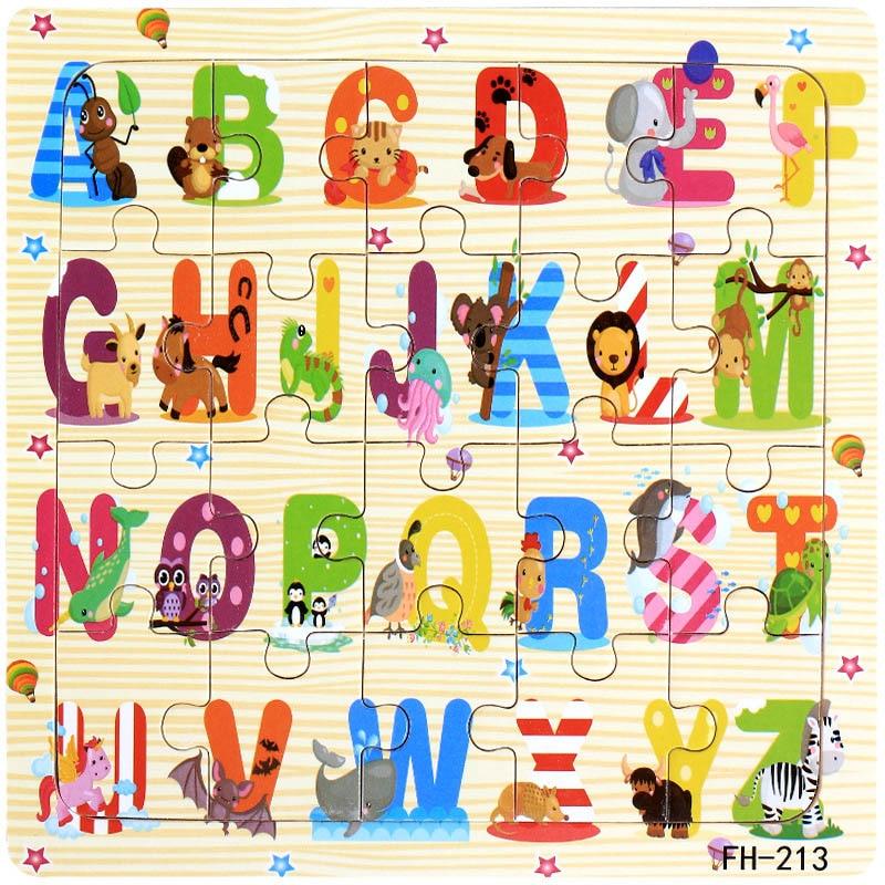 Деревянные пазлы игрушки 20 шт. дети радость Превосходное качество головоломки деревянные Мультяшные животные Развивающие головоломки игрушки для детей