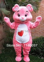 Mascotte roze beer Kostuum Mascotte Volwassen Grootte Leuke Zorg beer Stripfiguur Mascotte Outfit Pak