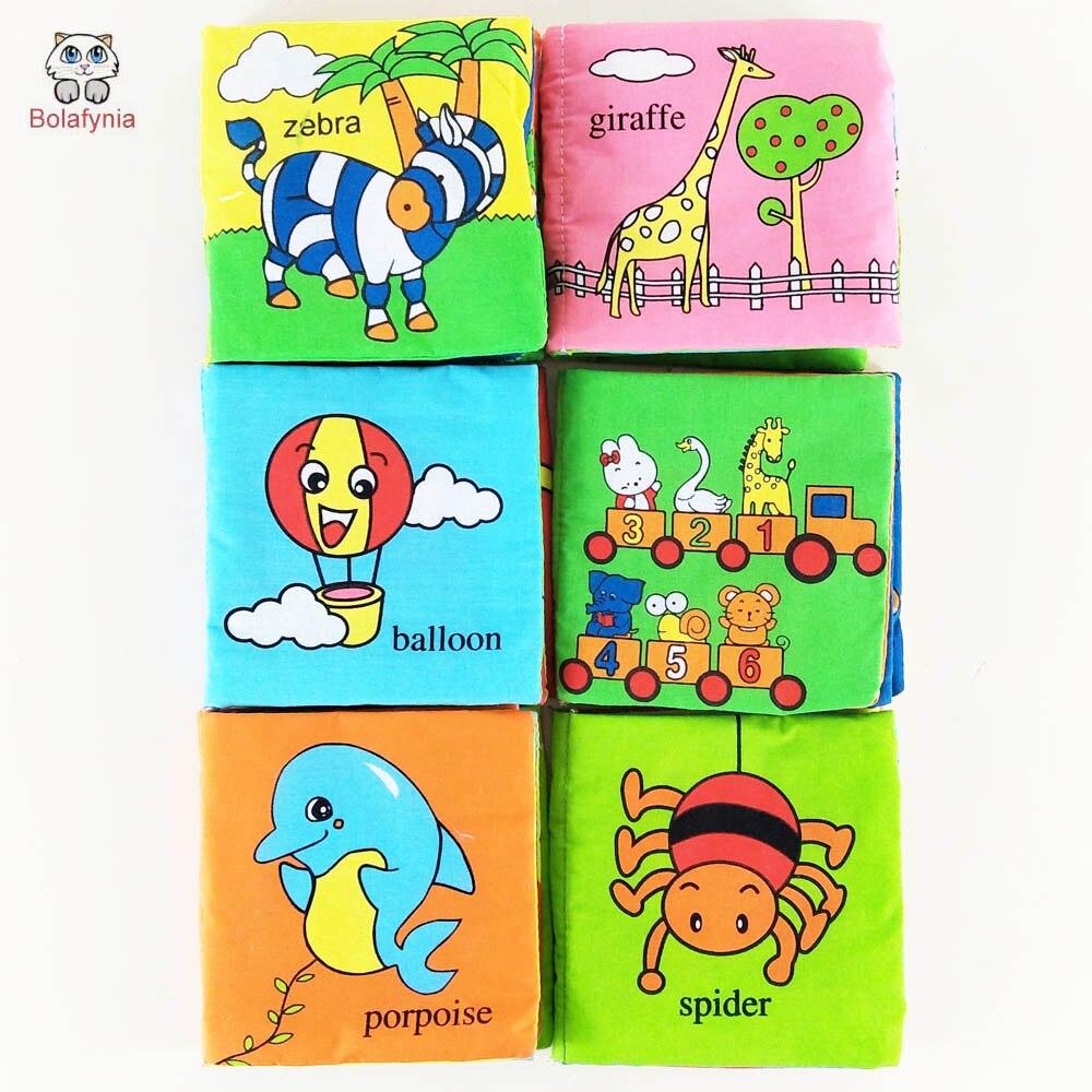 e5c73d375 Bolafynia الأطفال الرضع الكتب القماش كتاب لعبة طفل المخابرات 1 مجموعة =  6pes الإنجليزية كتاب