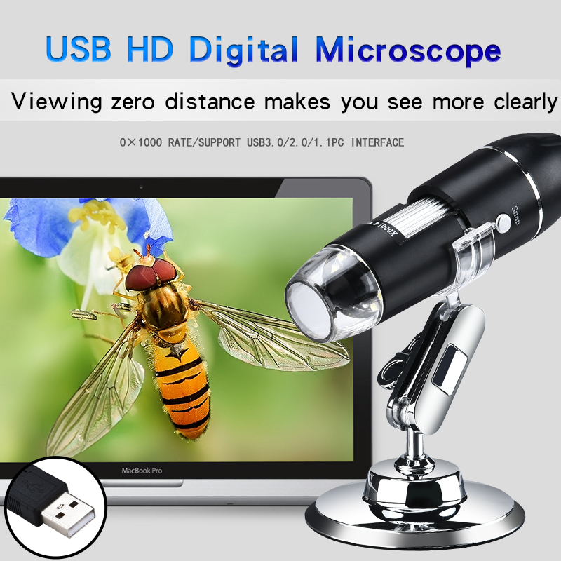 0-1000X USB Microscópio Portátil Microscópio Digital Portátil USB Microscópios eletrônicos de Interface com 8 LEDs com Suporte
