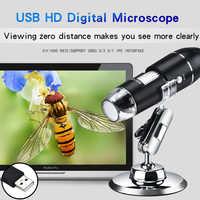 Microscopio Digital portátil 0-1000X microscopio USB interfaz USB microscopios electrónicos con 8 LEDs con soporte