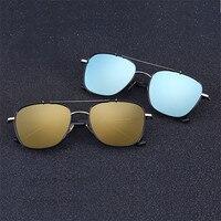Cubojue Polarized Sunglasses Men Women Square Mirrored Sunglass Male Driving Anti Glare Gold Blue Flat Top Lens Glasses Man's