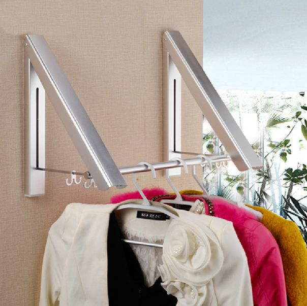 Bathroom Shelves Metal Chrome Wall Mounted Clothes Drying Hanger Foldable  Laundry Rack Useful For Modern Home