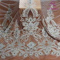 La Belleza 1 yard heavy handmade beaded lace fabric crystal lace ivory/gold/navy/red wedding dress lace fabric 49'' width
