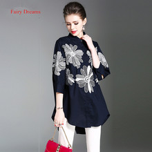 Fairy Dreams Women Shirt Office Ladies Flowers Embroidery Blue Blusas 2017 Hot Sale New Arrival Summer Blouses Fashion Clothes