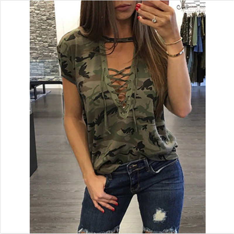 Summer T-shirts Sexy Women Clothing Fashion Short Sleeve T-shirt Loose Clothes Casual V-Neck T-Shirt Camouflage Female Tops